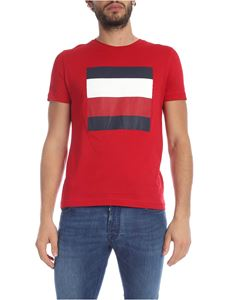 Tommy Hilfiger - T-shirt rossa con stampa logo a contrasto