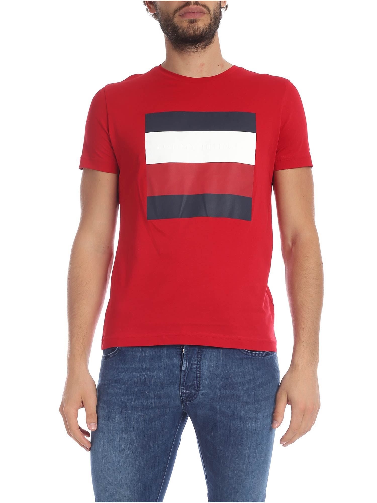 Tommy Hilfiger Red T-shirt With Contrasting Logo Print