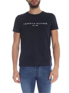 Tommy Hilfiger - T-shirt blu scuro con logo a contrasto