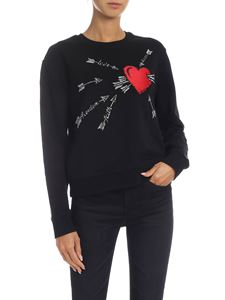 Red Valentino - Black sweatshirt with heart embroidery