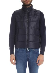 Fay - Sleeveless down jacket in blue with logo