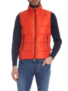 Fay - Sleeveless down jacket in orange with logo