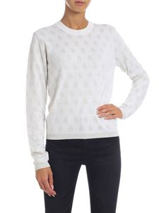 Ballantyne - Jacquard pullover in white and ecru