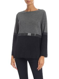 Kangra Cashmere - Crewneck pullover in grey with sequins