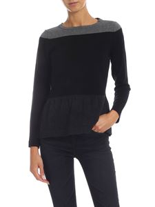 Kangra Cashmere - Black and gray pullover with flounce