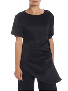 MM6 by Maison Martin Margiela - Black t-shirt with drapery