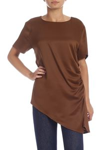 MM6 by Maison Martin Margiela - Brown t-shirt with drapery