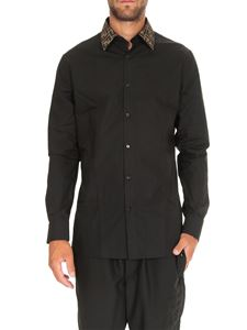 Fendi - Black shirt with FF motif collar