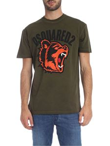 Dsquared2 - Army green T-shirt with bear print