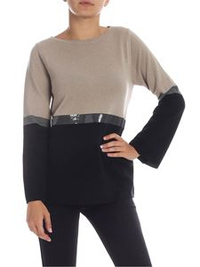 Kangra Cashmere - Colorblock sweater with sequins in beige