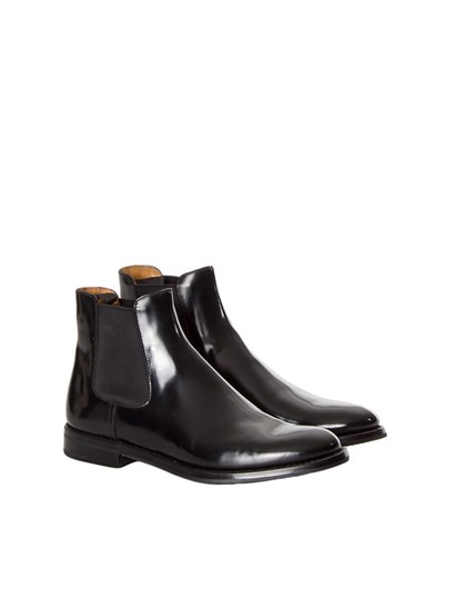 "Black brushed leather ankle boots with side elastic bands, leather and rubber sole. - Church's - ""Monmouth"" BOOT"