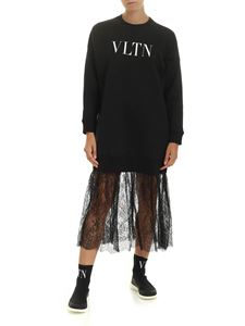 Valentino - VLTN dress in black fleece with Chantilly lace