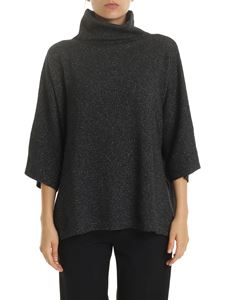 Etro - High collar pullover in lamé gray