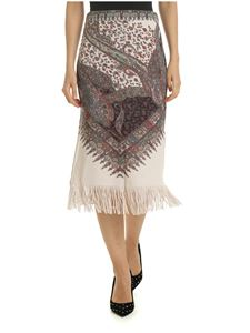 Etro - Nude-colored knitted skirt with contrasting print
