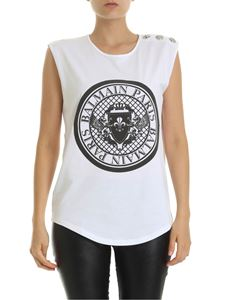 Balmain - White top with branded medallion print