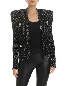 Balmain - Quilted effect velvet jacket in black