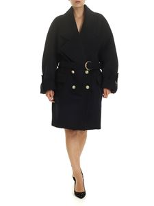 Balmain - Dark blue oversize coat with belt