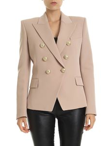 Balmain - Double-breasted blazer in nude color virgin wool