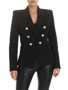 Balmain - Double-breasted blazer in black virgin wool