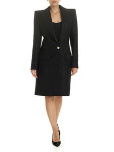 Balmain - Single-breasted coat in black lamé wool