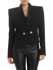 Balmain - Black double-breasted jacket with satin details