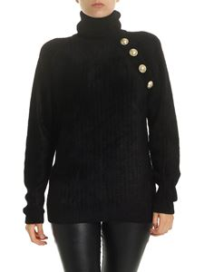 Balmain - Black turtleneck with decorative buttons