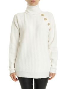 Balmain - Cream-colored turtleneck with decorative buttons