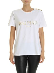Balmain - White T-shirt with golden laminated logo print