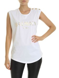 Balmain - White top with golden BALMAIN print