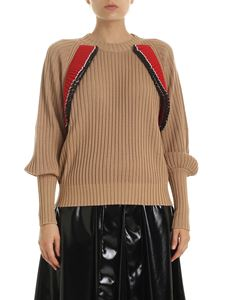 MSGM - Beige pullover with ruffles and puffed sleeves