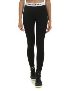 Paco Rabanne - Black leggings with branded jaquard bands