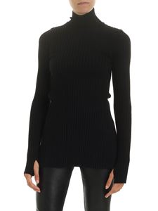 Paco Rabanne - Ribbed high neck sweater in black