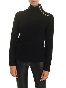 Paco Rabanne - Black turtleneck pullover with golden buttons