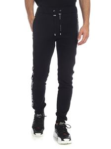 Balmain - Black pants with side branded bands