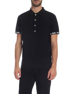 Balmain - Black polo with branded elastic bands