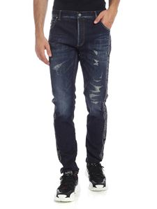 Balmain - Jeans in navy blue with branded bands