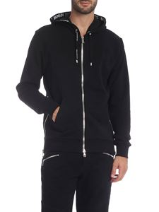 Balmain - Black hoodie with branded bands