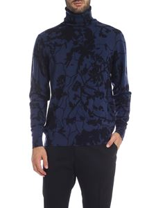 Etro - Blue turtleneck with floral pattern