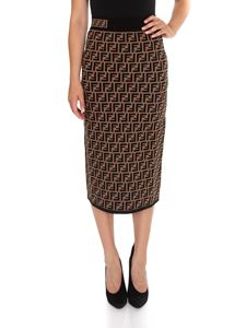 Fendi - Black FF motif skirt in Tabacco color