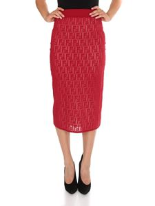 Fendi - Straight-cut longuette skirt in red