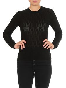 Fendi - Black sweater with tone-on-tone embossed FF motif