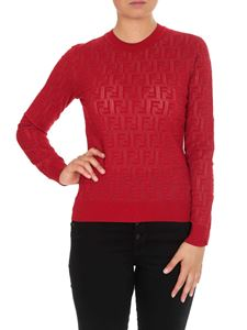 Fendi - Red sweater with tone-on-tone embossed FF motif
