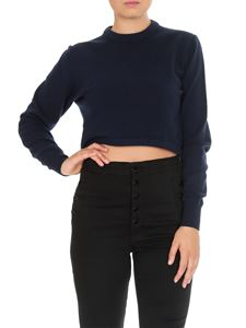 Chloé - Pullover crop in lana Evening Blue