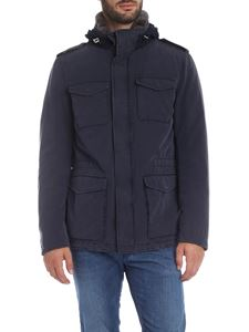 Herno - Blue parka with beaver fur collar