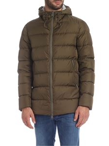 Herno - Army green down jacket with hood
