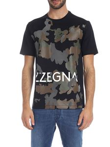 Z Zegna - T-shirt nera con stampa camouflage
