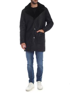 Dondup - Black coat with fur collar