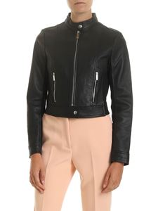 Michael Kors - Black leather jacket and fabric inserts