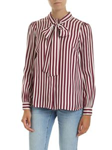 Michael Kors - White and purple striped shirt with bow