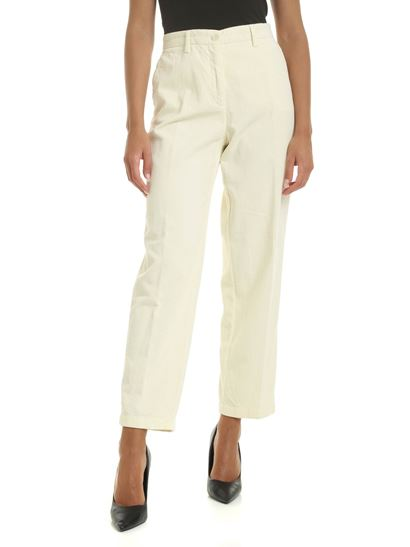hot-selling newest latest style of 2019 special section Corduroy pants in cream white